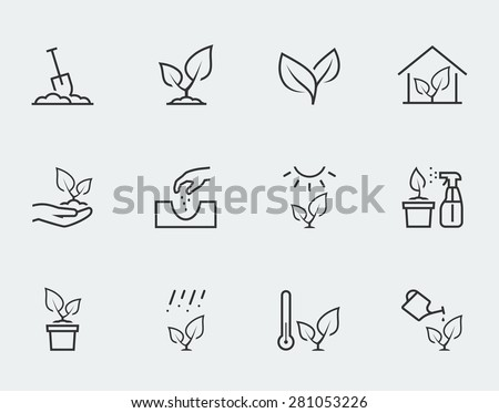 plant related vector icon set