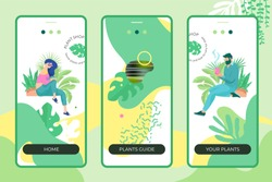 Plant shop mobile app design template with two modern people characters, greenery abstract forms and plants, logo and place for text.
