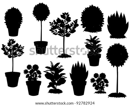 Plant Silhouettes A variety of potted and unpotted plants. EPS 8 vector, grouped for easy editing. No open shapes or paths.