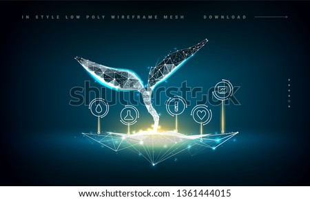 Plant sprout biotechnology. Seedling tree leaves DNA genome engineering vitamin supplement. Abstract illustration isolated on dark blue background. Medical science life eco. Low poly wireframe mesh.