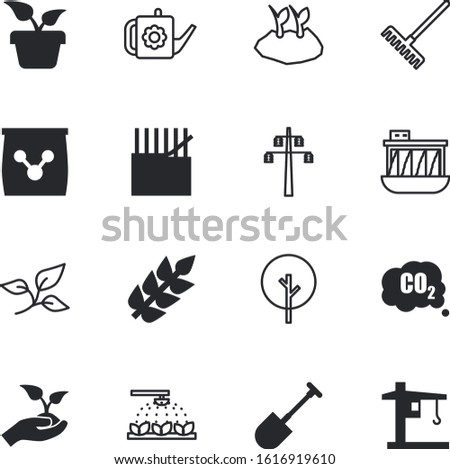 plant vector icon set such as: texture, hydroelectric, wood, innovation, voltage, oak, emits, bailer, textile, resources, generator, spade, textiles, frame, formula, rake, abstract, machinery, leaves