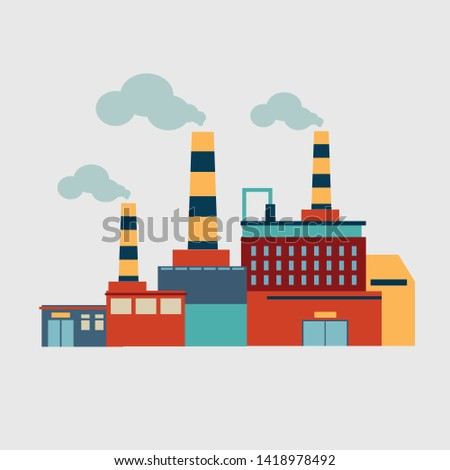 Plant with pipes. Production, illustration, vector image. Isolated object.