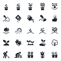 Planting and Growing Icons stock illustration. Seeds, planting, plants, plants growing, trees growing, cultivation, watering, flowers, soil preparation