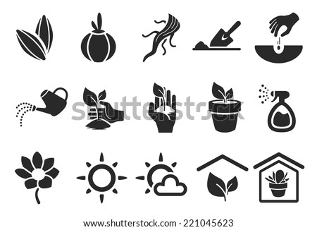 planting icons   illustration