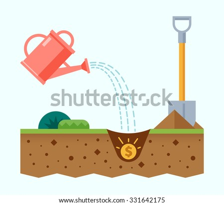 Planting the seed of the dollar. Financial growth concept. Vector illustration in flat style Foto stock ©