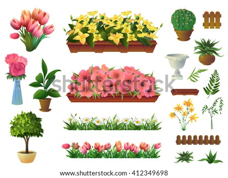 plants and flowers  set of