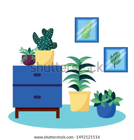 Plants and furniture design, Garden ornament nature botany natural and floral theme Vector illustration