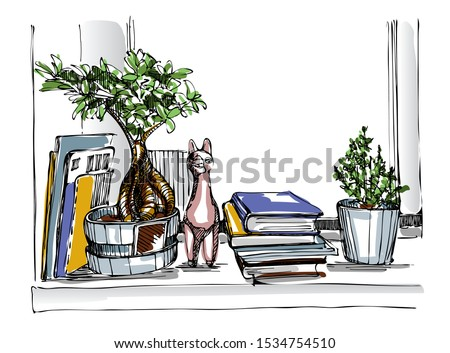 Plants, books, magazines and a ceramic lamа on the windowsill. Hand drawn sketch