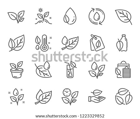 Plants line icons. Set of Mint leaf, Growing plants and Humidity thermometer icons. Bottle with mint water, Nature care and leaf on hand. Gardening new flower, environment, water drop. Vector