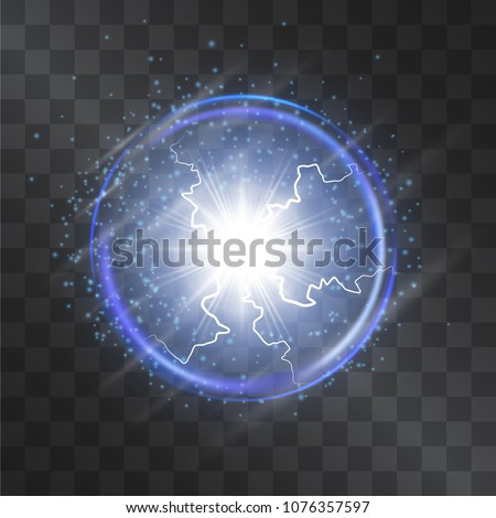 Plasma globe energy beams light effect isolated on transparent background. Neon blue electric lightnings in the clear glass sphere with dim flares on the surface. Glowing filaments mystic lamp.