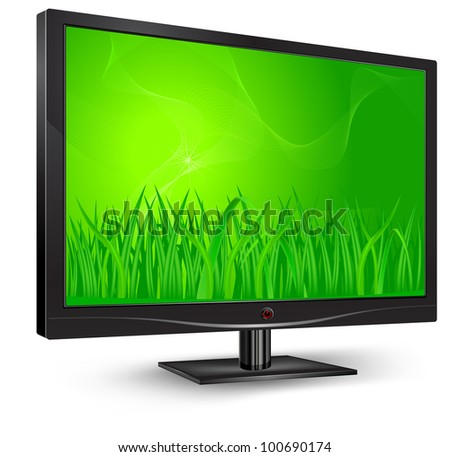Plasma, lcd tv with grass on green screen, vector illustration