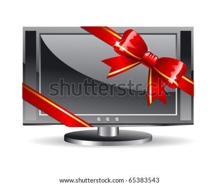 Plasma LCD TV with red bow - stock vector