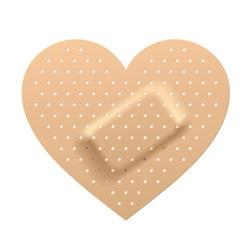 Plaster in shape of heart. Vector.