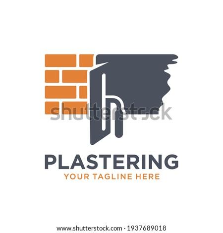 Plastering template logo design. illustration of trowel plastering with stacked brick Stockfoto ©