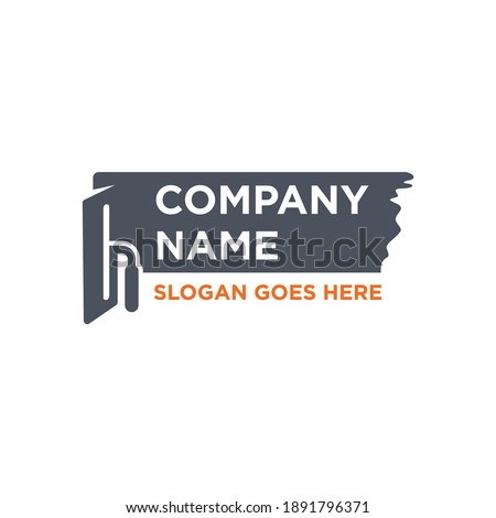 Plastering template logo design.  trowel plastering icon Stockfoto ©