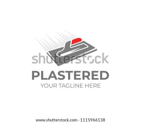 Plastering trowel logo template. Plasterer tool vector design. Plaster work logo