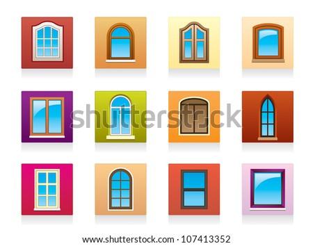 Plastic aluminum and wooden windows - vector illustration