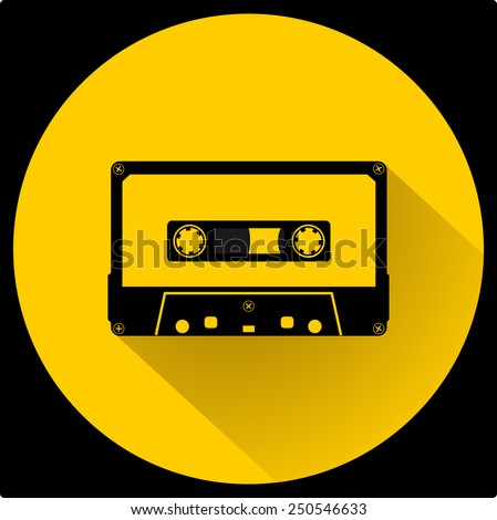 Plastic audio compact cassette tape - web icon. black color music tape. old technology concept, retro style, flat and shadow theme design, vector art image illustration, isolated on yellow background