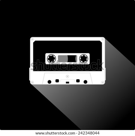 Plastic audio compact cassette tape - web icon. white color music tape. old technology concept, retro style, flat and shadow theme design, vector art image illustration, isolated on black background