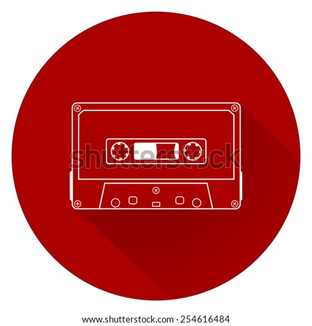 Plastic audio compact cassette tape - web icon. white outline music tape. old technology concept, retro style, flat and shadow theme design, vector art image illustration, isolated on red background