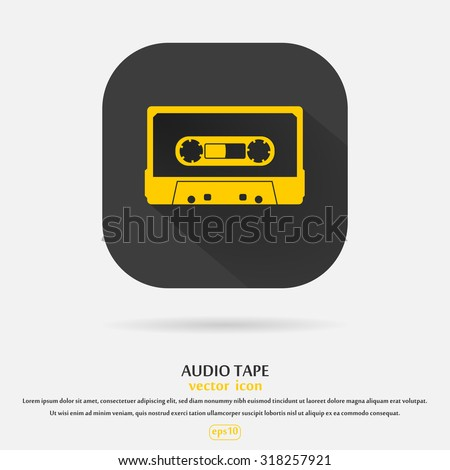 Plastic audio compact cassette tape - web icon. yellow color music tape. old technology concept, retro style, flat and shadow theme design, vector art image illustration, isolated on black background