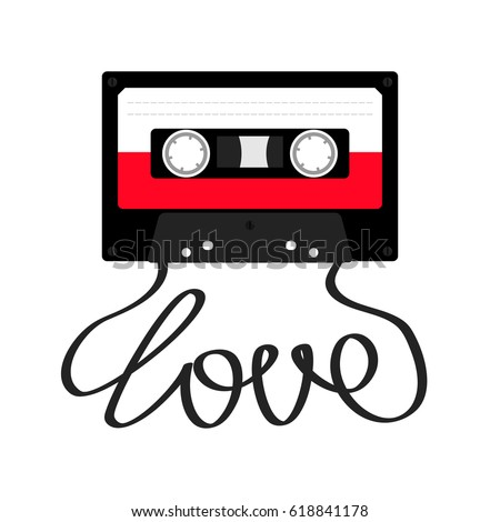 Plastic audio tape cassette with tape word love. Retro music icon. Recording element. 80s 90s years. Red color template. Flat design. White background. Isolated. Vector illustration