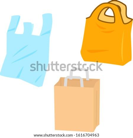 Plastic bag, a paper bag and a eco bag