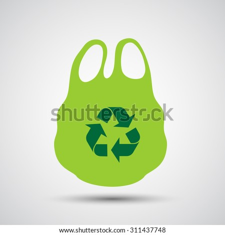Plastic bag with recycle sign - Vector Foto stock ©