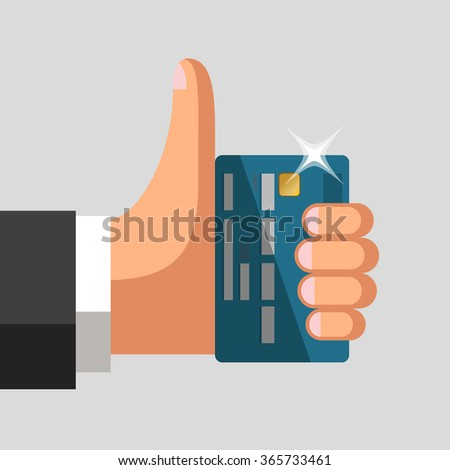 plastic bank cards in hand of