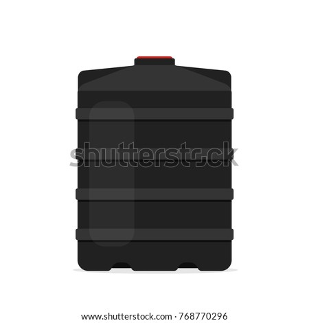 Plastic black water tank storage icon. Clipart image isolated on white background