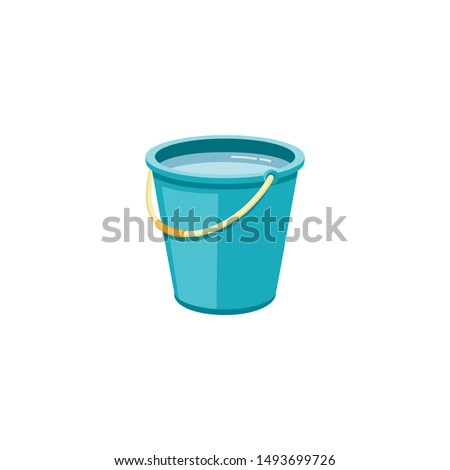 Plastic blue bucket with water for household cleaning and home washing. Plastic bucket, pail and container with handle, household equipment. Isolated vector cartoon illustration. ストックフォト ©