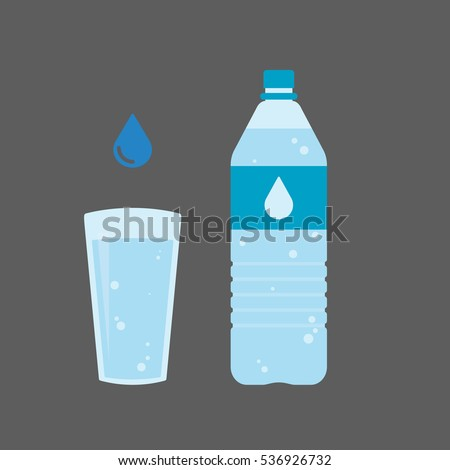 plastic bottle and glass of