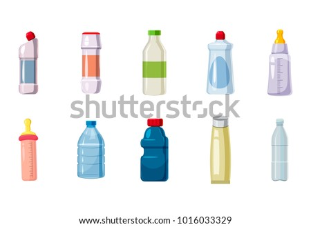 Plastic bottle icon set. Cartoon set of plastic bottle vector icons for web design isolated on white background
