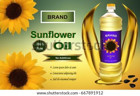 plastic bottle of sunflower oil