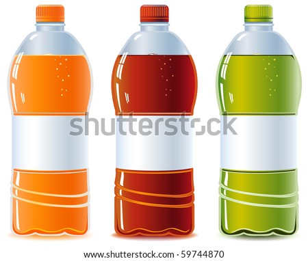 Plastic bottle of water. Orange, Cola and Green Tea. Isolated on white. Empty label. Vector