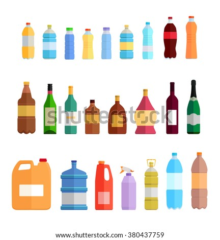 Plastic bottle set design flat oil and beverage. Water and wine, beer and whiskey