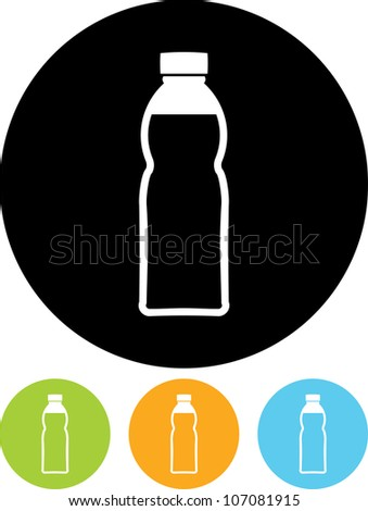 Plastic bottle with drink - Vector icon isolated