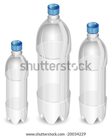 Plastic bottles of mineral water isolated on white background, vector illustration