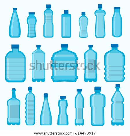 Plastic bottles vector isolated icons set