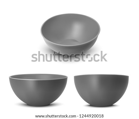 Plastic bowl for noodles and rice. Vector realistic image.