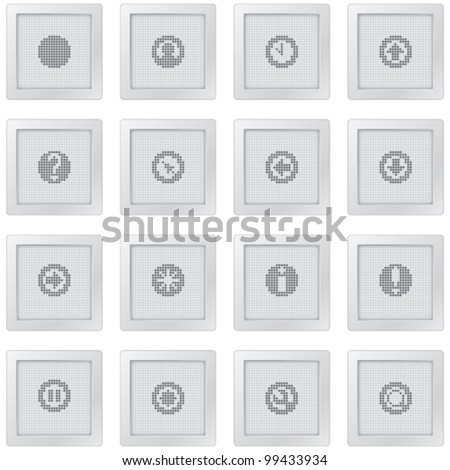 plastic buttons with icon set with dot-based symbols for control and info screens and web design.