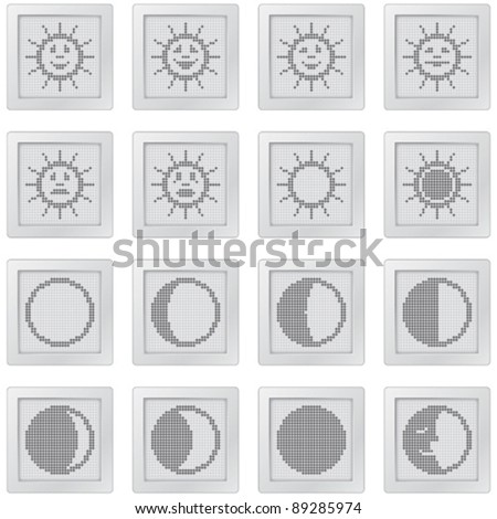 plastic buttons with suns and moons. icon set with dot-based symbols