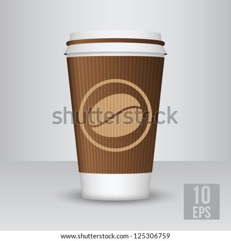 Plastic coffee cups with coffee bean
