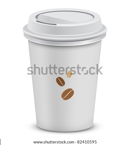 Plastic coffee cups with lid and coffee beans. Vector illustration