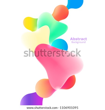 Plastic colorful shapes. Fluid multicolor banner. Abstract gradient shapes on white background #1106901095