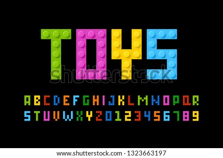 Plastic construction blocks font, alphabet letters and numbers vector illustration