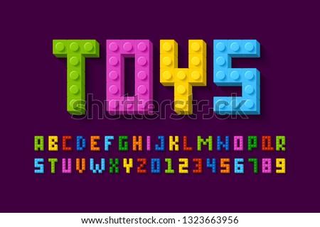 Plastic construction blocks font, 3d alphabet letters and numbers vector illustration