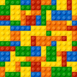 Plastic construction blocks. Seamless vector.