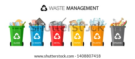 Plastic containers for garbage of different types. Waste management concept. Different types of Waste: Organic, Plastic, Metal, Paper, Glass, E-waste. Separation of waste on garbage cans for recycling