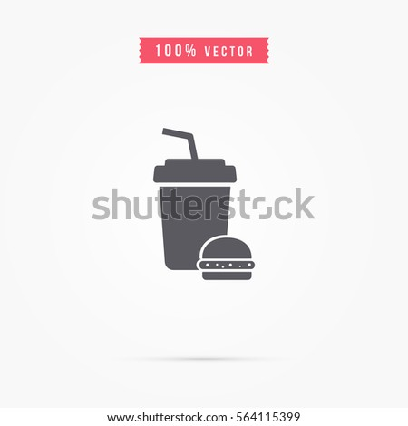 plastic cup icon with burger